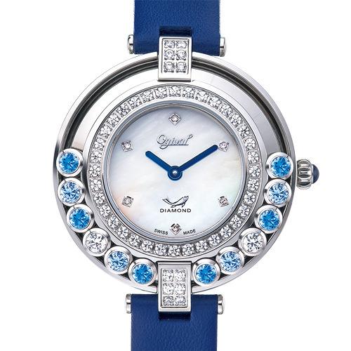 Ogival愛其華 流星系列-34mm流光瀲灩珠寶錶-藍x白 380-45DLW