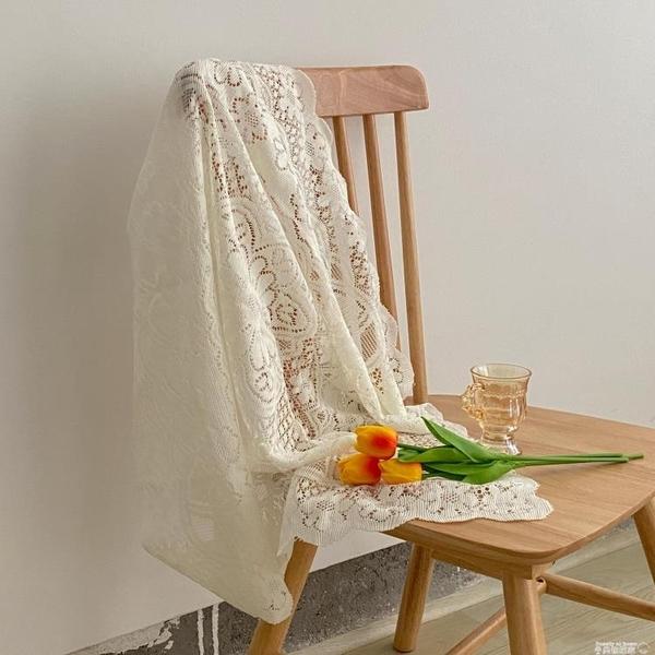 桌布花邊鏤空白色蕾絲桌布正方形ins復古茶幾布床頭櫃沙發冰箱蓋布XL  美物 99免運