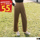 《BA4646》俐落感面磨毛純色直筒褲 OrangeBear