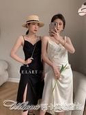 2021初春新款韓版春款LE簡約設計感側開叉褶皺吊帶裙百搭女1119 阿卡娜
