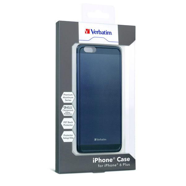 【免運費】Verbatim 威寶 iPhone 6 Plus 5.5吋 鋁合金手機保護殼(附贈9H鋼化玻璃螢幕保護貼)-灰黑色x1