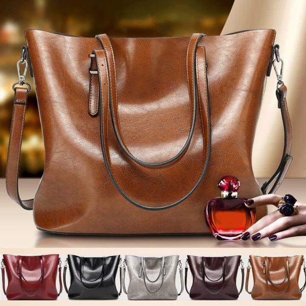 歐美時尚油蠟大容量皮包 托特包 手提包 單肩包 -艾發現