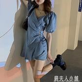 夏季新款裙子港風收腰顯瘦設計感荷葉邊V領牛仔短袖洋裝女 母親節禮物