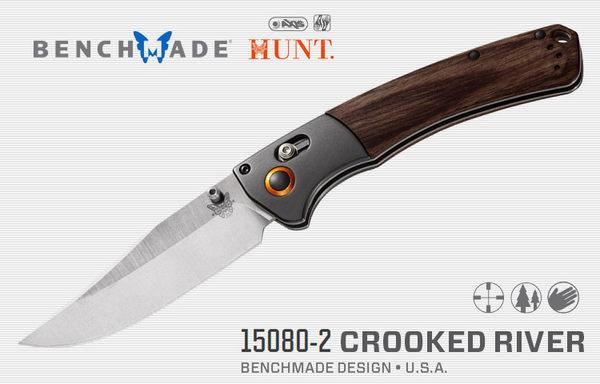 Benchmade 狩獵系列CROOKED RIVER鋁+棕木柄折刀- #BENCH 15080-2