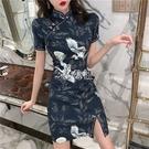 旗袍 流行裙子夏天輕款改良仙鶴旗袍仙女氣質顯瘦收腰性感連身裙