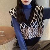 V領針織衫秋冬毛衣女2019秋季新款韓版寬鬆外穿無袖馬甲背心上衣