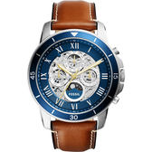 FOSSIL Grant Sport 鏤空日曆機械手錶-藍x咖啡/44mm ME3140