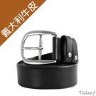TALERF單層斜邊休閒皮帶(黑色/共3色)-情侶-男 /真皮 牛皮/台灣製造