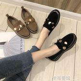 新款韓版復古厚底單鞋女學生鬆糕休閒簡約一腳蹬樂福鞋潮 卡布奇諾