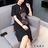 新款少女黑復古民族風女裝旗袍
