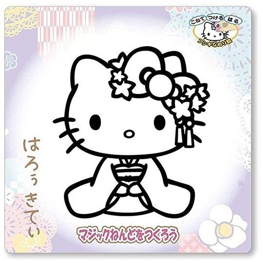 小禮堂 Hello Kitty 造型彩繪玻璃貼 玻璃裝飾貼 DIY彩繪貼 美勞玩具 (紫 和服) 4995502-44740