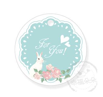 幸福朵朵*【禮物吊卡包裝3.5X3.5圓形吊牌-小兔花園(藍)零售-不含其它配件】婚禮小物禮物包裝