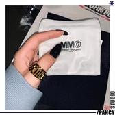 戒指男 歐美嘻哈鈦鋼表帶設計金色個性小眾戒指男女 多款可選