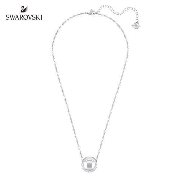 施華洛世奇 Hollow 簡約精緻鍍白金色項鏈