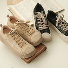 學院風休閒鞋 方頭系帶平底鞋 百搭運動板鞋/2色-夢想家-標準碼-1022