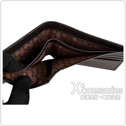 萬寶龍MONTBLANC MEISTERSTUCK鱷魚皮設計六角星LOGO小牛皮8卡對折短夾(黑)