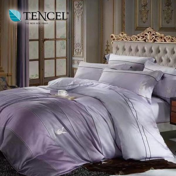【貝淇小舖】PLAYBOY 100%萊賽爾天絲 加大6x6.2尺 鋪棉兩用被床包組 附天絲吊卡 哈克特