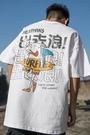 夏季五分半袖T恤男裝嘻哈潮流寬松中大尺碼純棉短袖男