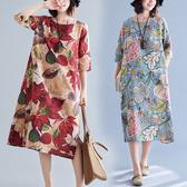 洋裝 連身裙 民族風複古印花長裙女2020新款秋季寬鬆大碼顯瘦遮肚子棉麻洋裝
