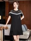 M-5XL胖妹大碼洋裝連身裙~大碼洋氣鏤空蕾絲短袖連身裙顯瘦胖mm女裝NB11B1胖妹大碼女裝