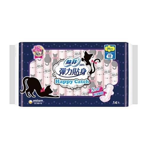蘇菲彈力貼身happy catch夜用衛生棉29cm X14片【愛買】