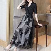 中大尺碼洋裝連身裙~宴會晚禮服黑色高貴名媛氣質主持人V領連身裙8527H405A莎菲娜