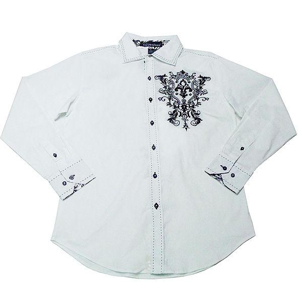襯衫『摩達客』美國進口潮時尚設計【Victorious】花紋刺繡白色長袖襯衫(10213099003)