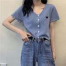 低領短款上衣女設計感洋氣百搭V領冰絲針織開衫顯瘦捲邊短袖T恤女 果果輕時尚