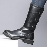 冬季中筒長靴工裝靴側拉鏈靴馬靴中筒軍靴男士高筒靴子馬丁靴英倫  ATF  poly girl