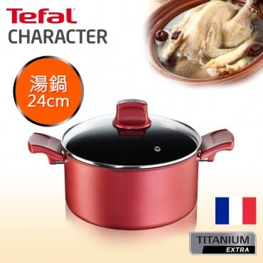Tefal法國特福 頂級御廚系列24CM不沾雙耳湯鍋(加蓋)(電磁爐適用)