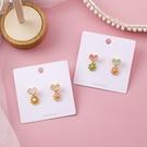 【NiNi Me】韓系耳環 氣質甜美愛心花辮花朵925銀針耳環 耳環 N0518