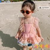 兒童泳衣女孩寶寶中小童游泳衣連體裙式蕾絲泳裝套裝【淘嘟嘟】