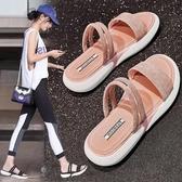 涼鞋新品女夏厚底網紅百搭平底兩穿運動涼拖鞋女外穿