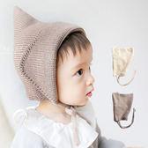 純色尖頂綁帶針織保暖帽 童帽 毛線帽