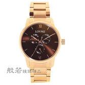 LOVME 1072三眼系列時尚手錶-IP玫x咖