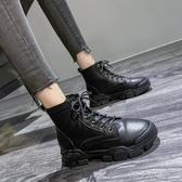 顯腳小馬丁靴女透氣網紗鏤空英倫風短靴子【快速出貨】