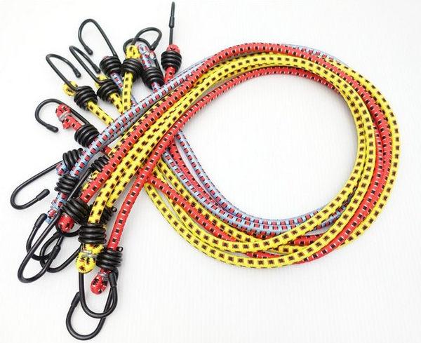 台灣製造 彈性行李固定勾 3尺(單入) 顏色隨機 49-038 雙掛勾 彈性繩 帳篷繩 汽機車鉤繩 [易遨遊]