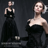 馬甲 斜肩浪漫黑玫瑰舞動塑身馬甲-束身、表演服_蜜桃洋房