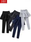 加絨加厚假兩件打底褲女高腰外穿黑色褲子顯瘦百褶裙春秋冬季裙褲 源治良品