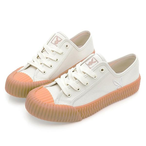 PLAYBOY 韓系casual 休閒帆布餅乾鞋-白(Y7203)