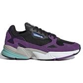 ADIDAS Falcon 女鞋 慢跑 休閒 老爹鞋 復古 麂皮 黑 紫【運動世界】 CG6216