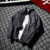 條紋襯衫男小清新格子長袖男格子襯衣港風男裝 法布蕾輕時尚
