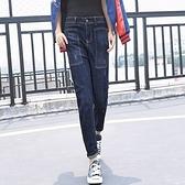 牛仔褲-韓版休閒方形大口袋寬鬆哈倫女長褲73mk16[巴黎精品]