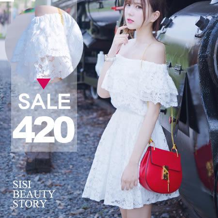 SISI【D6118】輕柔微夏甜美蕾絲一字領短袖縮腰層次傘襬裙連身裙洋裝