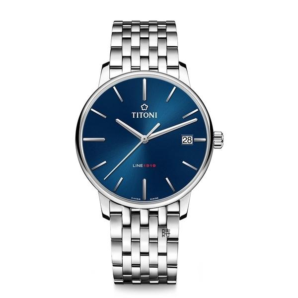 TITONI 梅花 LINE1919 超薄自製機芯 機械錶 83919S-612 藍
