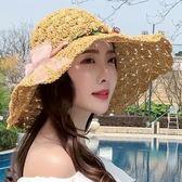 帽子 草帽女夏天沙灘帽子海邊度假遮陽防曬帽休閒花朵大檐可折疊太陽帽 一件免運