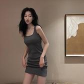 夏季性感針織吊帶裙子2020新款收腰修身顯瘦氣質連身裙女包臀短裙