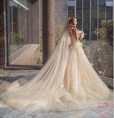 韓式香檳色頭紗女軟紗新娘結婚森系頭紗頭飾超長拖尾旅拍超仙 年終尾牙特惠