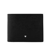 【MONT BLANC】匠心系列防刮牛皮 6卡+2透明夾短夾(黑色) 113220