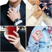 潮人黑色戒指男士個性簡約細款食指環單身學生情侶ins光面尾 朵拉朵衣櫥
